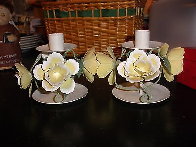 Pair of Vintage Italian Tole Candlesticks Candle Sticks Holders