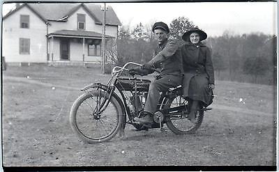 EARLY   INDIAN   MOTORCYLE Postcard Size Photo c1910s Young Man Proudly Posing