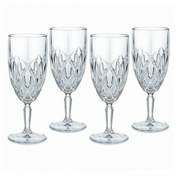 New Marquis By Waterford 4 Pc Crystal Brookside Ice Beverage Glasses,goblet+Box