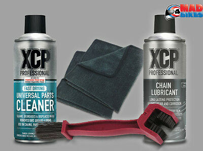 XCP Professional Motorcycle Chain Maintenance Pack, Lube, Cleaner, Brush, Cloths