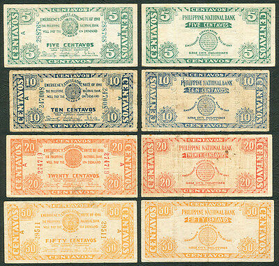1943 US Philippines National Bank WW2 ILOILO Emergency Note 5, 10, 20, 50 cntvs