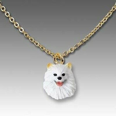 Dog on Chain AMERICAN ESKIMO Dog Head Necklace