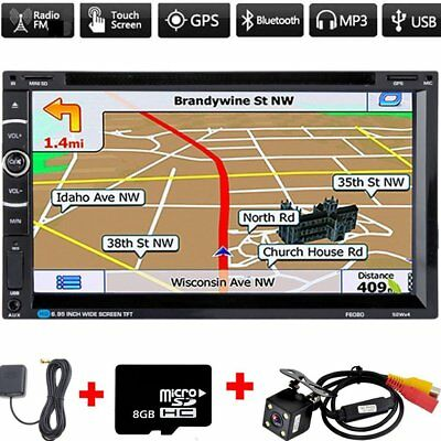 New 7 inch Autoradio 2 DIN with GPS Sat Nav DVD CD MP5 Player + Free Camera