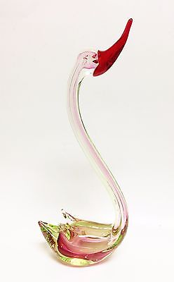 """New 16"""" H Murano Style Glass,Clear+Red+Green+Pink Swan Bird Figurine,Paperweight"""