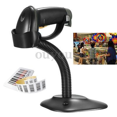 Black POS USB Portable Automatic Laser Bar Code Reader Scanner With Stand