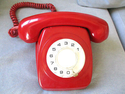 Vintage Retro Red 1974 Rotary Dial Telephone PMG AWA 802 (NOT WORKING)