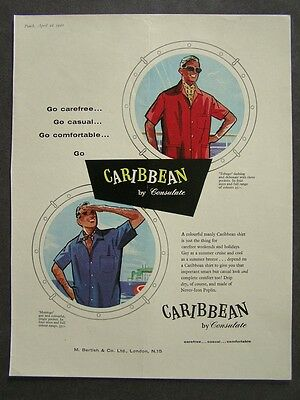 1960s advert for CONSULATE Caribbean mens fashion / Grants Scotch whisky
