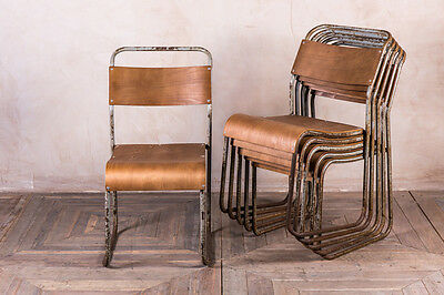 Vintage Plywood Chair Stacking Metal School Chairs Industrial 1950S Chairs
