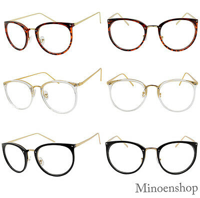 Quality Ladies Tall Round Thin Frame Clear Lens CAT EYE Women Glasses