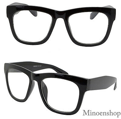 Thick Black Celebrity Men's Vintage Clear Lens Glasses Bold Frame Hip Hop Geek