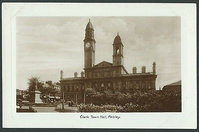 Paisley Renfrewshire Glasgow Clark Town Hall Vintage Real Photo Postcard