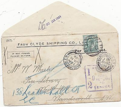 * 1904 CLYDE SHIPPING Co BOOK POST ENV PERFIN ½d POSTAGE DUE WANDSWORTH LIBRARY