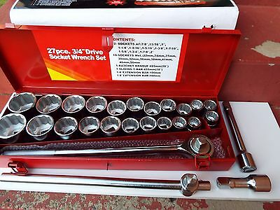 Socket Wrench Set 3/4'' Drive 27pce Heavy Duty METRIC & SAE