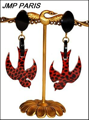 Exquisite French Signed Jmp Black Red Resin Swallow Bird Dangling Earrings
