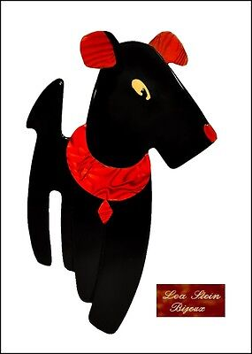French Lea Stein Paris Ric Airedale Terrier Dog Pin Brooch --Black Red Resin