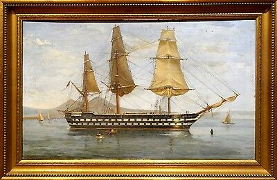 Fine Large 19th Century HMS St George Bay Of Naples Ship Marine Oil Painitng