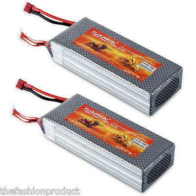 2x 10000mAh 14.8V 25C 4S Li-Po RC Battery for RC Car Helicopter Airplane Boat