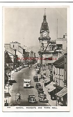 Cumbria Kendal Highgate & Town Hall Real Photo Vintage Postcard 05.01