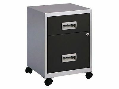 2 DRAWER PIERRE HENRY STEEL SILVER / BLACK MOBILE FILING CABINET A4 NEW +FREE24h