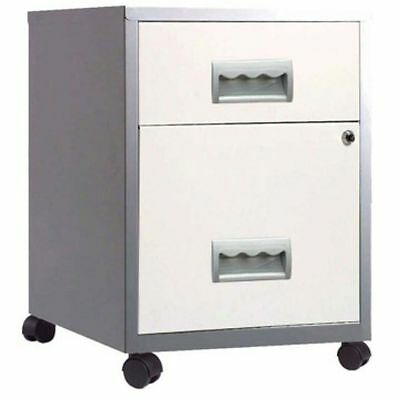 2 DRAWER PIERRE HENRY STEEL WHITE & SILVER MOBILE FILING CABINET A4 NEW +FREE24h