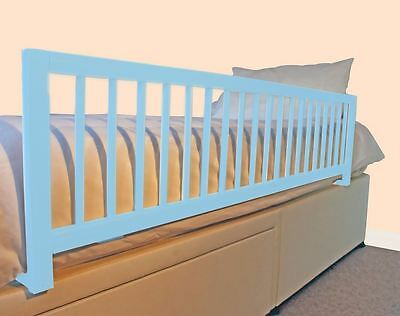 Safetots Extra Wide Long Wooden Bed Rail Boys Deluxe Toddler Bed Guard Blue