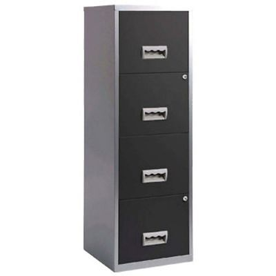 4 Drawer Pierre Henry Steel Silver / Black Lockable Filing Cabinet A4  - New