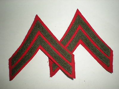 Usmc Wwii Corporal Rank - Green On Red - Mint! 1 Pair.