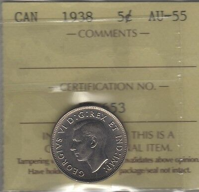 1938 Canada Five Cents (Nickel) Coin. ICCS AU-55