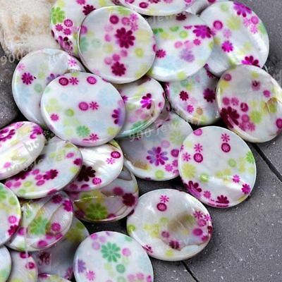 30mm Mother Of Pearl Mop Shell Flat Round Loose Beads 1