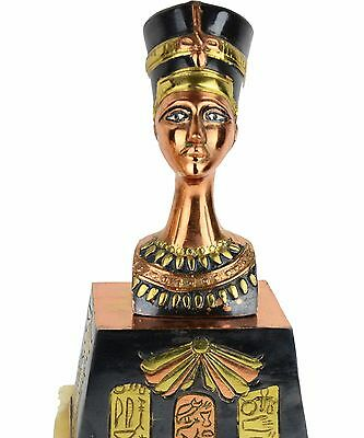 Egyptian Queen Nefertiti Bust Statue Brass, Copper, Marble Base Rare Lg 12''