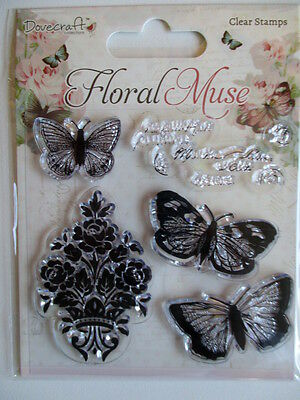 Dovecraft Floral Muse Clear Stamps - Butterflies