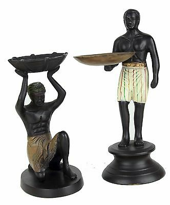 2 Egyptian MEN Bronze Slaves Slave Men Figure Server Men