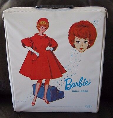 NICE Vintage Barbie Red Flare White Doll Case SPP 1963 with Hangers & Drawer
