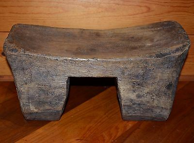 Antique African Tribal Loma Toma Peoples Carved Wood Headrest Stool, West Africa
