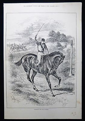 Jockey On Racehorse Horse Racing John Sturgess Victorian Print 1882