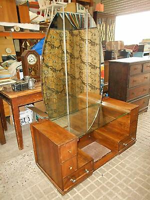 Gorgeous Art Deco 1930s Dressing Table with Large Oval Mirror