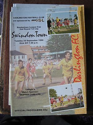 1990-91 Darlington v Swindon Town Rumbelows League Cup 2nd round 1st leg 25.9.90