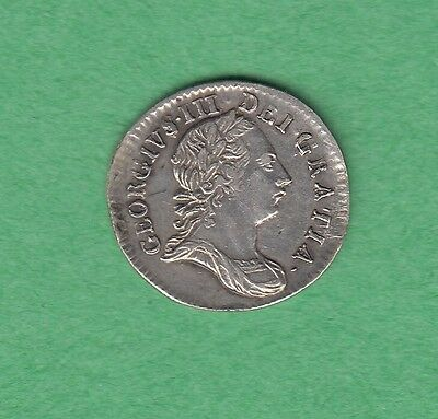1763 Great Britain 3 Pence Silver Coin - George III - XF