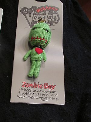John Hinde USA WatchOver Green ZOMBIE BOY Voodoo Doll  Keychain New on Card
