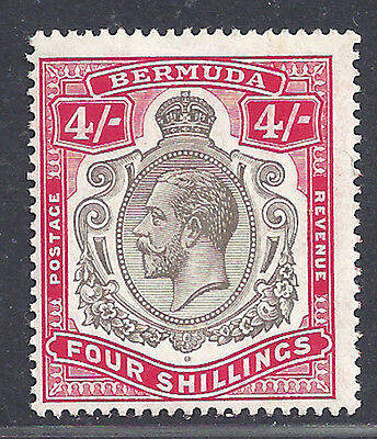 Bermuda stamps 1918 Key Plates 4s Nick in scroll (SGbc) MLH £325/ $400