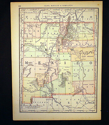 Antique Map New Mexico OR Colorado 1892