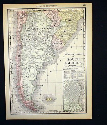 Antique Map South America Southern Portion Argentina Plan of Buenos Ayres 1892