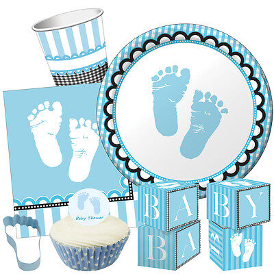 SWEET Baby FEET BLUE Baby Shower Party Range Boy Tableware Balloons Decorations