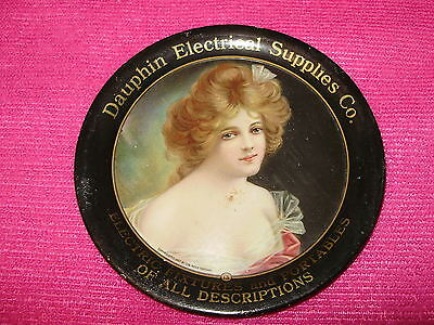 "VICTORIAN PRETTY LADY TIP TRAY - ""Dauphin Electrical Supplies Co."" - 1907"