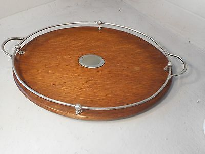 Vintage Silver Plated Gallery Oak Tray  ,   ref 1927