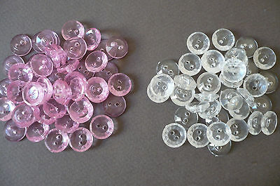 50 Vintage Buttons. (2 colours) New Old Stock. 14mms. diam.