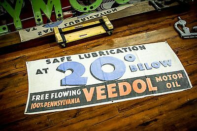 Vintage Rare Veedol Gas & Oil Advertising Banner Sign Gas Service Station Old