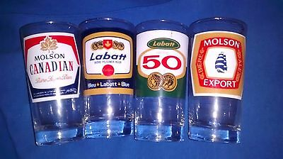 4 different beer glasses 2 Molson 2 labatts all different beers