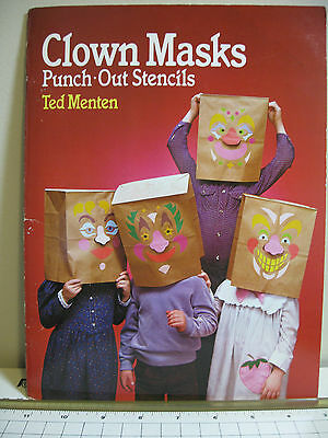 CLOWN MASKS 8 Punch-Out Stencils by Ted Menten Unused  1988 -