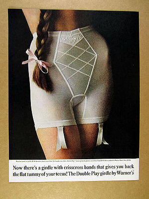 1961 Warner's Double Play Girdle long hair braid color photo vintage print Ad